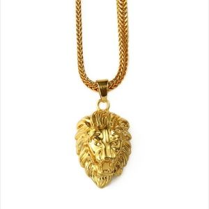 "Other - 18kGold Lion Head Pendant Necklace 30"" Snake Chain"
